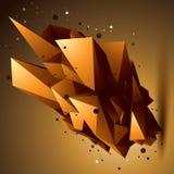Przestrzenny technologiczny złoty kształt, poligonalny jaskrawy przedmiot Zdjęcia Royalty Free