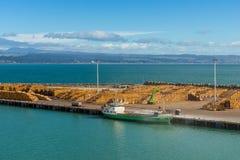 Przesyła przy Wellington, Nowa Zelandia z szalunkiem przygotowywającym dla eksporta Zdjęcia Royalty Free