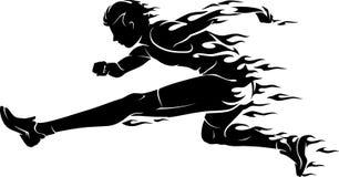 Przeszkody rasy płomienia atleta ilustracja wektor