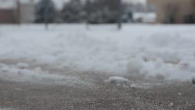 Przeszuflowywać świeżo robić śnieg z podjazdu zdjęcie wideo