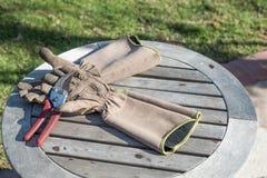 Przetarte Ogrodowe rękawiczki i Różani cążki Fotografia Royalty Free