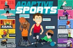 Przetwórczych sportów Niepełnosprawne atlety Infographics ilustracja wektor