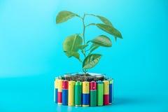 Przetwarzać i usuwanie alkaliczne baterie Pojęcie energetyczny życzliwy ekologia i środowisko zdjęcie stock