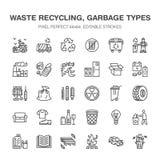 Przetwarzać mieszkanie kreskowe ikony Zanieczyszczenie, przetwarza rośliny Śmieci sortuje typ - papier, szkło, klingeryt, metal,  royalty ilustracja