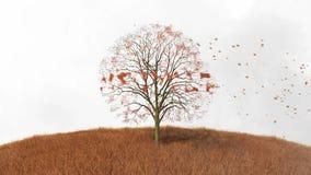 Przetwarzać tekst na drzewie, spada opuszcza royalty ilustracja
