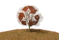 Przetwarzać znaka na drzewie ilustracja wektor