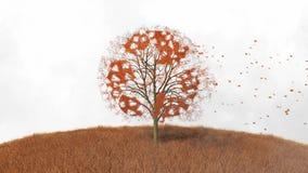 Przetwarzać znaka na drzewie, spada opuszcza ilustracji
