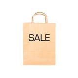 Przetwarza brown papierową torbę z szyldową sprzedażą Zdjęcia Stock