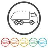 Przetwarza ciężarową ikonę, Śmieciarska ciężarówka, 6 kolorów Zawierać Fotografia Royalty Free