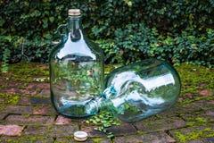 Przetwarza dużego szklanego wino na ogrodowej podłoga Obraz Stock