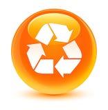 Przetwarza ikona szklistego pomarańczowego round guzika Obrazy Stock