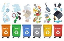 Przetwarza jałowych kosze Różni gratów typy kolorów zbiorniki sortuje odpady grata organicznie papier mogą szklana plastikowa but ilustracja wektor