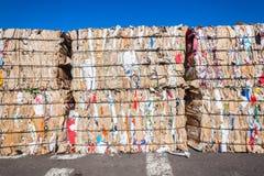 Przetwarza kartonu odpady sterty Zdjęcie Stock