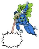 Przetwarza komiksu super bohatera w bohaterskiej pozie używać oko promienie dla wiadomości Fotografia Royalty Free