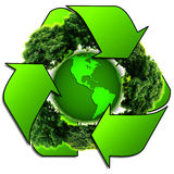 Przetwarza loga z drzewem i ziemią Eco kula ziemska z przetwarza znaki Fotografia Royalty Free