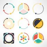 Przetwarza proste płaskie ikony ustawiać Round strzała Obraz Stock