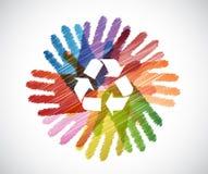 przetwarza symbol nad różnorodność ręk okręgiem ilustracji