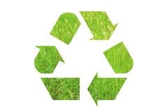 Przetwarza szyldowego loga robić zielona trawa odizolowywająca na białym backgrou zdjęcia royalty free