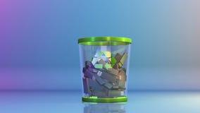 Przetwarza, USB spada w Śmieciarskiego kosz, akcyjny materiał filmowy ilustracja wektor