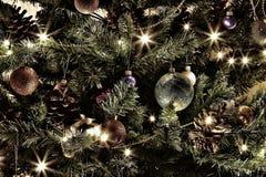 Przetwarzająca fotografii desktop tapeta dla komputeru, telefonu i pastylki, Piękny nowego roku drzewo z rilands i jaskrawy olgni zdjęcie stock