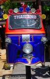 Przetwarzająca metal stal Tajlandia trzy koła rodzimy taxi Tuk Tuk przy Hau-Hin Tique zwierzęcym przedstawieniem Obrazy Stock