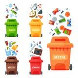 Przetwarzający śmieciarskiego elementu grata toreb opon zarządzania przemysłu utylizowywa jałową puszka wektoru ilustrację ilustracji