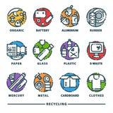 Przetwarzający śmieciarskiego elementu grata toreb opon zarządzania przemysłu utylizowywa jałowej puszki wektorowe ikony ilustrac ilustracja wektor