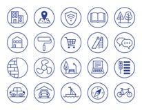 Przewagi nowe budownictwo mieszkaniowe ustawić symbole zdjęcie stock