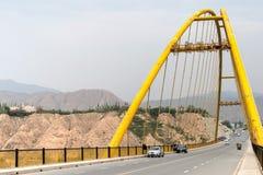 PRZEWDONIK CHINY, Jul, - 22 2014: Żółty rzeczny duży most (Huanghe Obrazy Stock