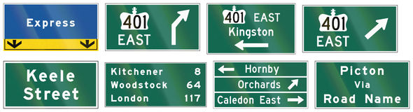 Przewdonik drogowy podpisuje wewnątrz Ontario, Kanada - ilustracji