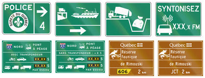 Przewdonik drogowy podpisuje wewnątrz Quebec, Kanada - Obrazy Stock