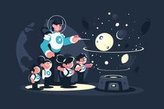 Przewdonik z dziecko w wieku szkolnym w planetarium ilustracja wektor