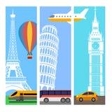 Przewiezeni podróży vertical sztandary Ilustracja Wektor