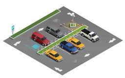 Przewiezionego parking Isometric skład royalty ilustracja
