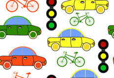 Przewieziony wektorowy bezszwowy wzór z samochodami, światłami ruchu i bicyklami, ilustracji