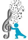 przewożenia clef g ilustracyjna sylwetka Obraz Stock