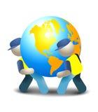 przewożenia dostawy ziemi kuli ziemskiej ilustracyjny mężczyzna Obraz Royalty Free