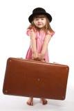 przewożenia dziewczyny walizka Zdjęcia Royalty Free