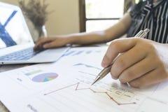 Przewodniczący firma obecnie kontroluje firm sprawozdania finansowe przygotowywać plan rozszerzać swój biznes E obrazy stock