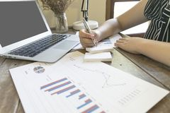 Przewodniczący firma obecnie kontroluje firm sprawozdania finansowe przygotowywać plan rozszerzać swój biznes E zdjęcie stock