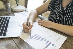 Przewodniczący firma obecnie kontroluje firm sprawozdania finansowe przygotowywać plan rozszerzać swój biznes E zdjęcia stock