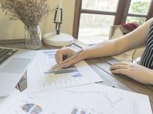 Przewodniczący firma obecnie kontroluje firm sprawozdania finansowe przygotowywać plan rozszerzać swój biznes E zdjęcie royalty free