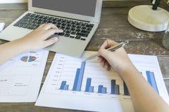 Przewodniczący firma obecnie kontroluje firm sprawozdania finansowe przygotowywać plan rozszerzać swój biznes E obraz royalty free