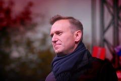 Przewodniczący ` przyjęcie postępu ` Alexei Navalny mówi przy wiecem w Rosja Zdjęcie Stock
