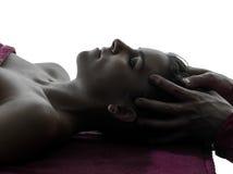 Przewodzi masażu terapii sylwetkę zdjęcia royalty free