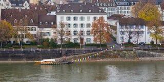 Przewozi przy riverbank Rhine w Basel Zdjęcia Stock