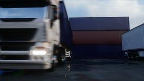 Przewozi samochodem w zbiornik zajezdni, magazyn, port morski 3d ładunku zbiorników wizerunek odpłacający się Logistycznie i bizn ilustracja wektor