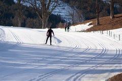 Przez cały kraj narciarstwa ślad Zdjęcie Stock