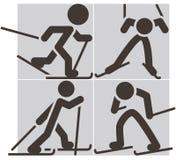 Przez cały kraj narciarstwa ikony Fotografia Royalty Free