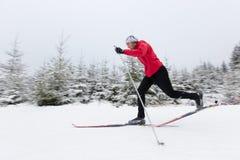 Przez cały kraj narciarstwo sport na śnieg na zimę Fotografia Stock